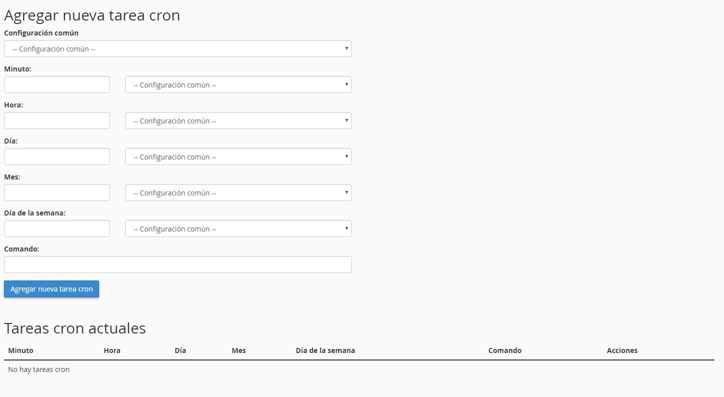 Formulario tarea Cron